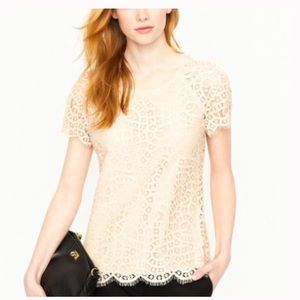 J. Crew Factory Scalloped Lace Top in Cream Size 2
